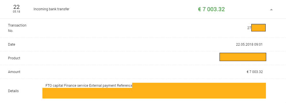 Вывод средств из ФТО капитал Май 2018